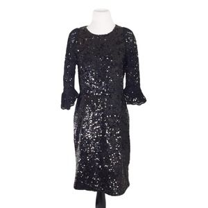 Sea New York Black Sequin Crochet Sleeve Dress 6